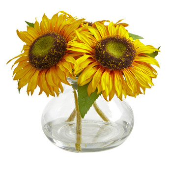 Sunflower Artificial Arrangement in Glass Vase - SKU #1796