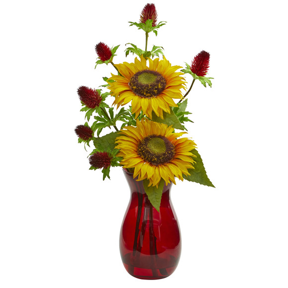 Sunflower and Thistle Artificial Arrangement in Red Vase - SKU #1797