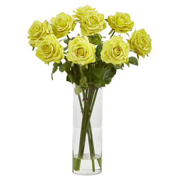 Rose Artificial Arrangement in Cylinder Vase - SKU #1798