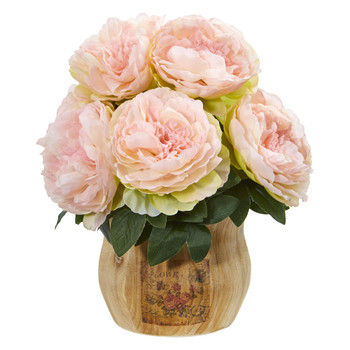 Peony Artificial Arrangement in Decorative Planter - SKU #1800-PK
