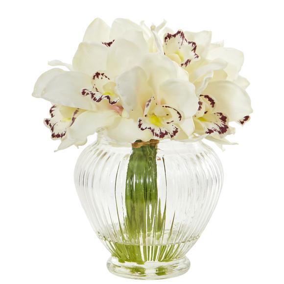 Cymbidium Orchid Artificial Arrangement in Glass Vase - SKU #1802 - 1