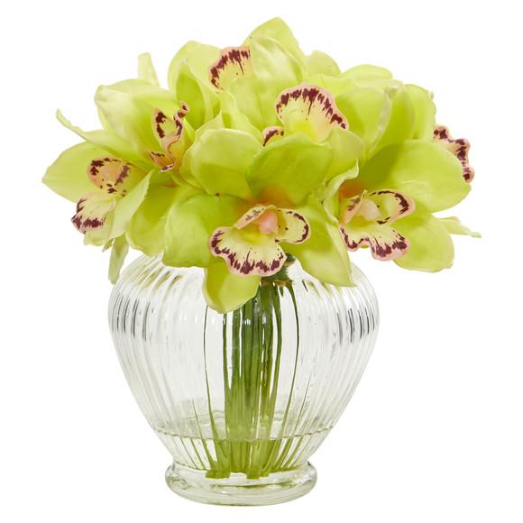 Cymbidium Orchid Artificial Arrangement in Glass Vase - SKU #1802 - 3