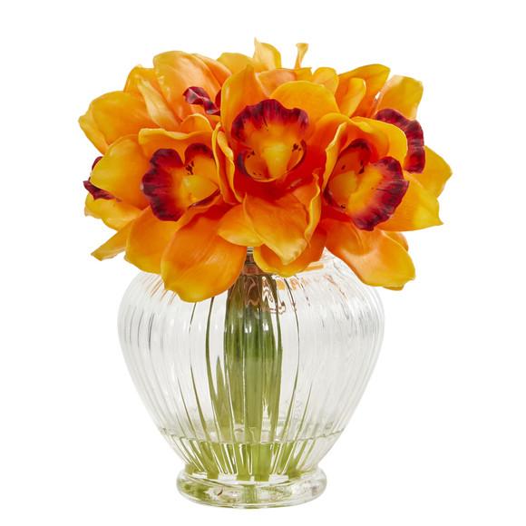 Cymbidium Orchid Artificial Arrangement in Glass Vase - SKU #1802 - 2
