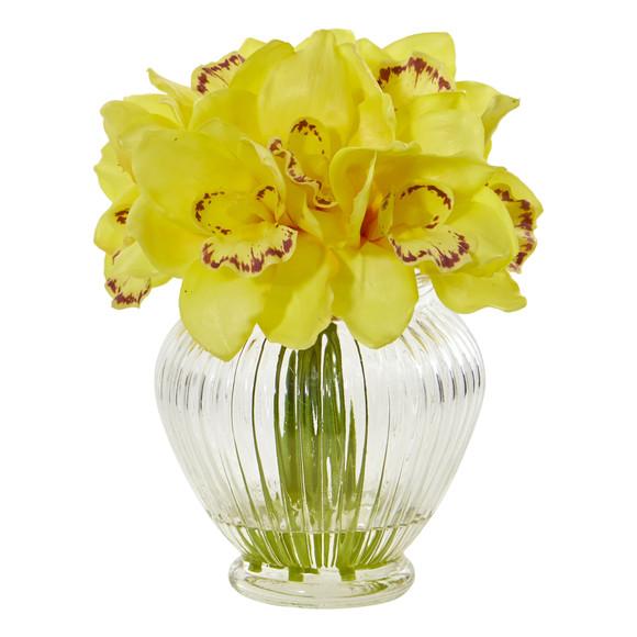 Cymbidium Orchid Artificial Arrangement in Glass Vase - SKU #1802