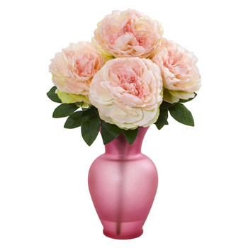 Peony Artificial Arrangement in Rose Garden Vase - SKU #1803-PK