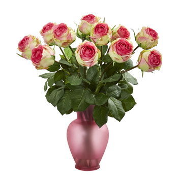 Rose Artificial Arrangement in Blue Vase - SKU #1804