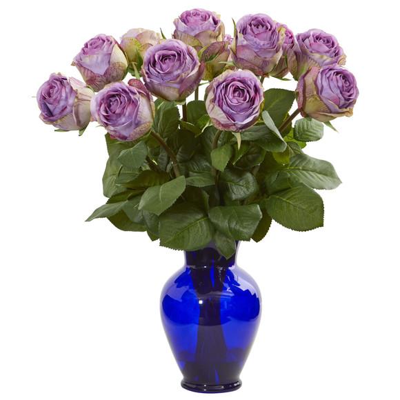 Rose Artificial Arrangement in Blue Vase - SKU #1804 - 1