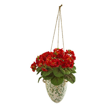13 Violet Artificial Plant in Floral Hanging Vase - SKU #1805-RD