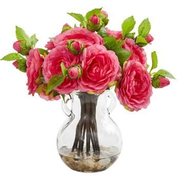 Camellia Artificial Arrangement in Vase - SKU #1806-PK