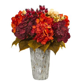 Autumn Hydrangea Berry Artificial Arrangement in Weather Planter - SKU #1807