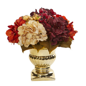 Hydrangea Berry Artificial Arrangement in Gold Urn - SKU #1808