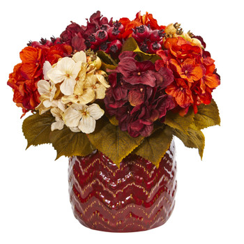 Hydrangea Berry Artificial Arrangement in Red Vase - SKU #1809