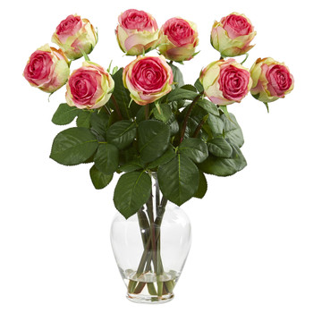 19 Rose Artificial Arrangement in Glass Vase - SKU #1811