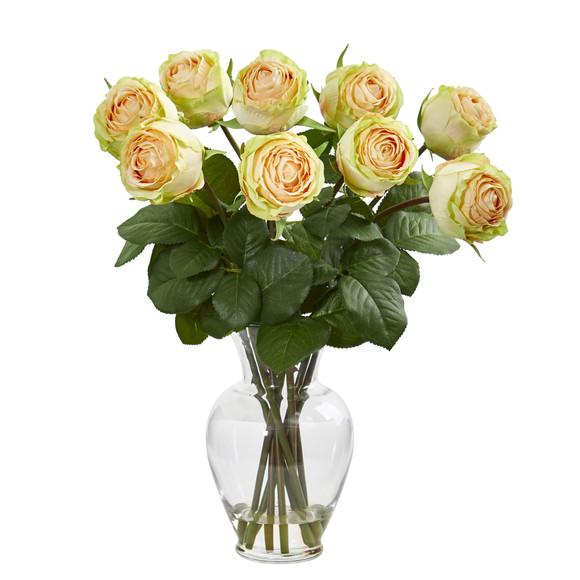19 Rose Artificial Arrangement in Glass Vase - SKU #1811 - 1