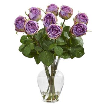 19 Rose Artificial Arrangement in Glass Vase - SKU #1811-PP