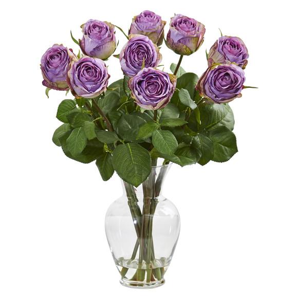 19 Rose Artificial Arrangement in Glass Vase - SKU #1811