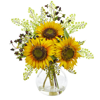 Sunflower Artificial Arrangement in Vase - SKU #1812