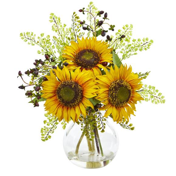 Sunflower Artificial Arrangement in Vase - SKU #1812