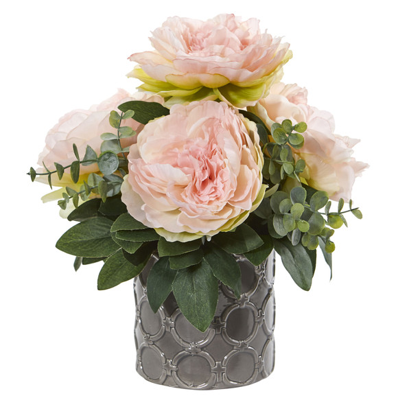13 Peony and Eucalyptus Artificial Arrangement - SKU #1813