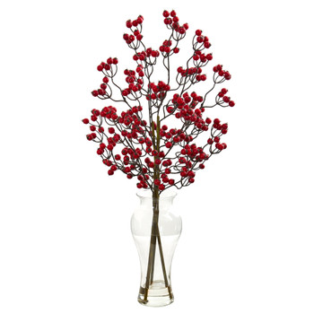 Berry Artificial Arrangement in Glass Vase - SKU #1814