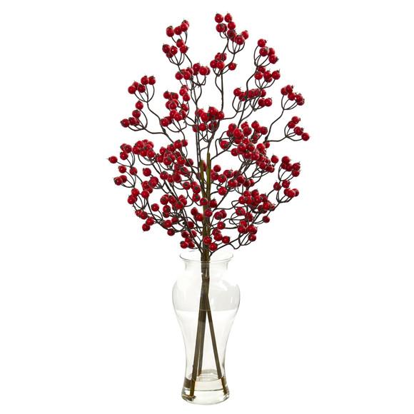 Berry Artificial Arrangement in Glass Vase - SKU #1814