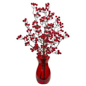 Red Berry Artificial Arrangement in Ruby Vase - SKU #1816