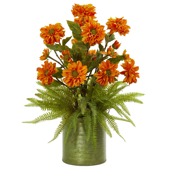 Zinnia and Fern Artificial Arrangement in Metal Planter - SKU #1817 - 1