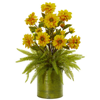 Zinnia and Fern Artificial Arrangement in Metal Planter - SKU #1817