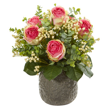Rose Eucalyptus Gypsophillia Artificial Arrangement - SKU #1818