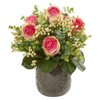 Rose Eucalyptus Gypsophillia Artificial Arrangement - SKU #1818