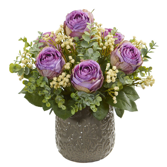 Rose Eucalyptus Gypsophillia Artificial Arrangement - SKU #1818 - 1