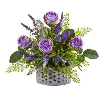 Rose and Lavender Artificial Arrangement in Designer Vase - SKU #1819