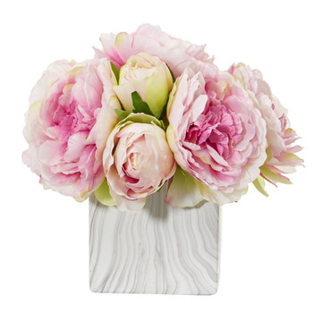 Peony Artificial Arrangement in Marble Finished Vase - SKU #1820