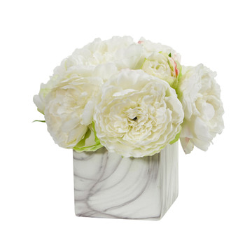 Peony Artificial Arrangement in Marble Finished Vase - SKU #1820-WH