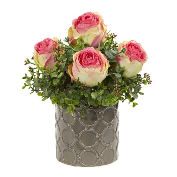 11 Roses and Eucalyptus Artificial Arrangement in Designer Vase - SKU #1821