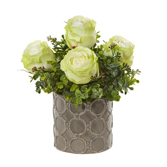 11 Roses and Eucalyptus Artificial Arrangement in Designer Vase - SKU #1821 - 3