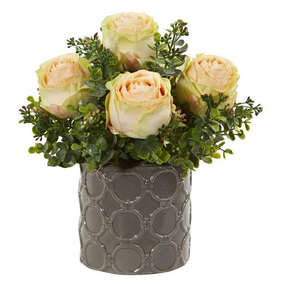 11 Roses and Eucalyptus Artificial Arrangement in Designer Vase - SKU #1821 - 2