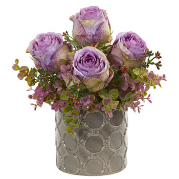 11 Roses and Eucalyptus Artificial Arrangement in Designer Vase - SKU #1821-PP