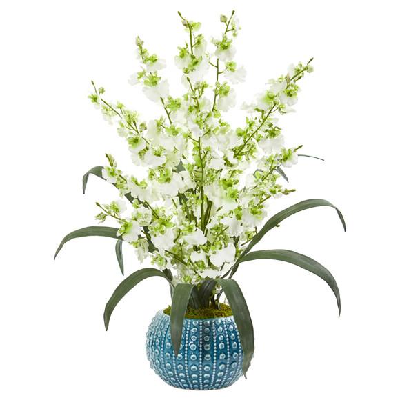 Dancing Lady Orchid Artificial Arrangement in Blue Vase - SKU #1822 - 2