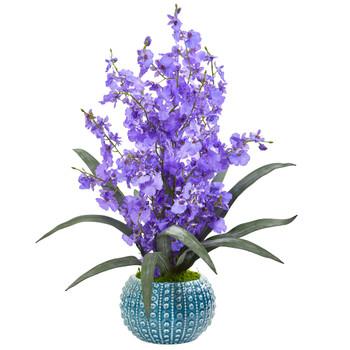 Dancing Lady Orchid Artificial Arrangement in Blue Vase - SKU #1822