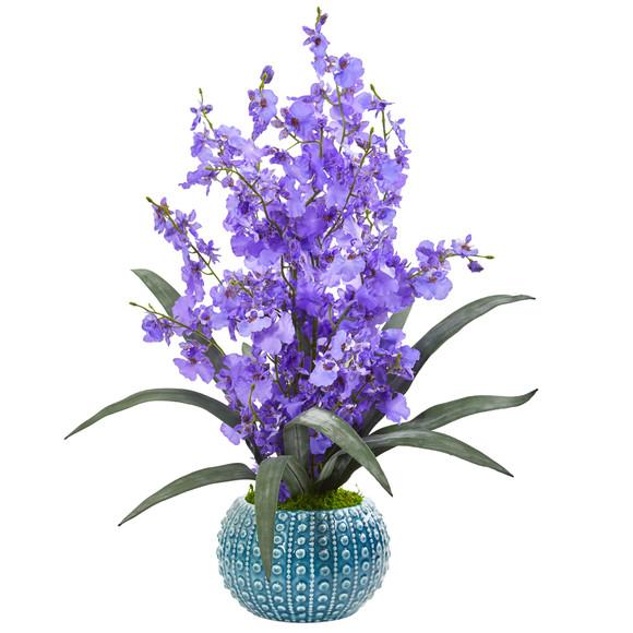 Dancing Lady Orchid Artificial Arrangement in Blue Vase - SKU #1822 - 1