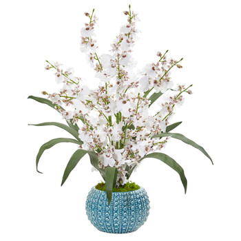 Dancing Lady Orchid Artificial Arrangement in Blue Vase - SKU #1822
