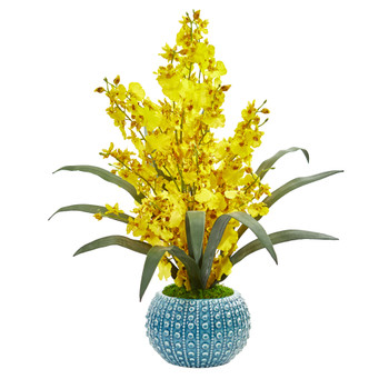 Dancing Lady Orchid Artificial Arrangement in Blue Vase - SKU #1822-YL
