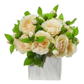 Camellia Artificial Arrangement in Marble Finished Vase - SKU #1823-PH