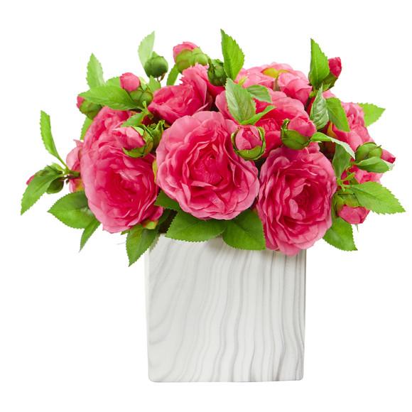 Camellia Artificial Arrangement in Marble Finished Vase - SKU #1823