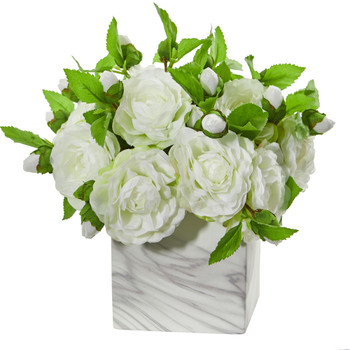Camellia Artificial Arrangement in Marble Finished Vase - SKU #1823
