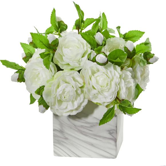 Camellia Artificial Arrangement in Marble Finished Vase - SKU #1823 - 1