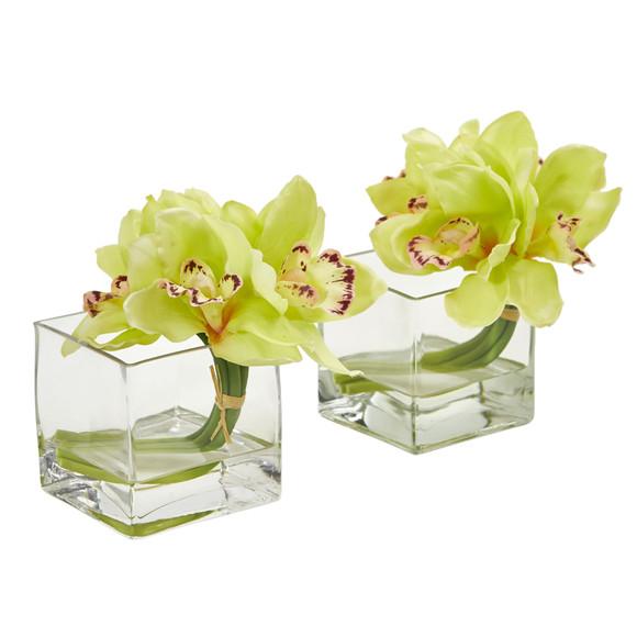 Cymbidium Orchid Artificial Arrangement in Glass Vase Set of 2 - SKU #1824-S2 - 4