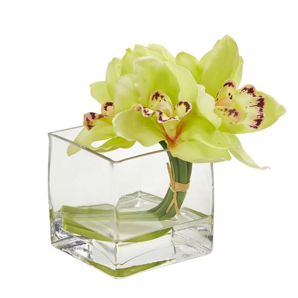Cymbidium Orchid Artificial Arrangement in Glass Vase Set of 2 - SKU #1824-S2 - 5