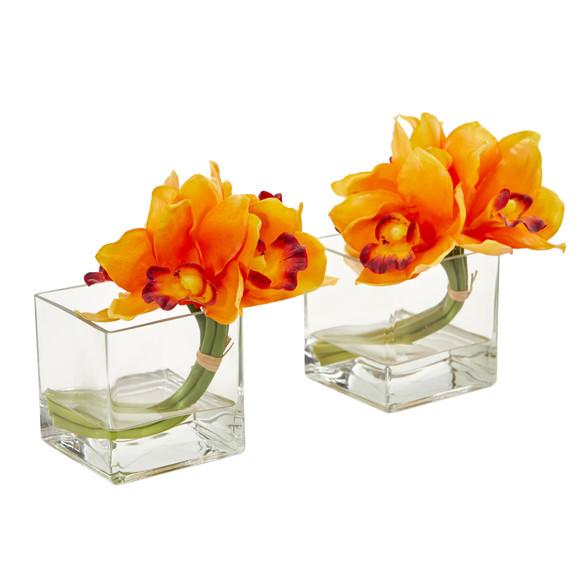 Cymbidium Orchid Artificial Arrangement in Glass Vase Set of 2 - SKU #1824-S2 - 2